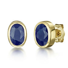 9ct Pendientes Oro Amarillo Zafiro Azul Rubover Set OVALADO DORMILONAS 6x4mm