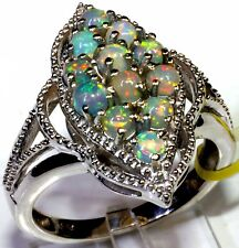 Ethiopian Welo Opal Ring Platinum Overlay Sterling Silver (Size 8) TGW 1.25 Cts