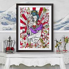 Impression de tatouage japonais geisha Dictionnaire Livre arrière-plan de page Décoration murale Poster