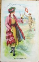 Archie Gunn/Artist-Signed WWI 1917 Postcard: A Parting Message, Woman & Soldier