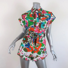 Zimmermann Riders Cuffed Romper Floral Print Linen Playsuit Size 0P NEW