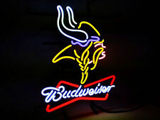 "Budweiser Minnesota Vikings NFL Beer Bar Shop Open Neon Sign 19""x15"""