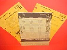 1972 DODGE CHALLENGER PLYMOUTH BARRACUDA MOTOROLA AM-FM-MPX RADIO SERVICE MANUAL