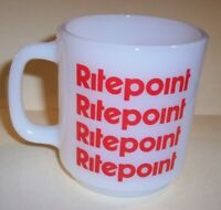 RARE VINTAGE GLASBAKE USA  RITEPOINT PEN CO MILK GLASS COFFEE CUP ADVERTISING