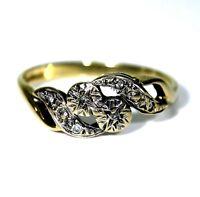 Vintage 9ct 9k Gold Diamond Toi et Moi Ring Size 6 1/2 - M 1/2