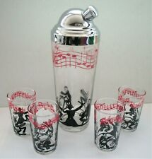 Vintage Glass Cocktail Shaker & 4 Small Glasses, Red & Black Musical Group Band
