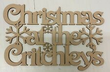Christmas at the 'Surname' plaque. Personalised, Wood, Gift, Craft.