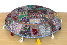 """32"""" Indian Handmade Round Floor Decorative Vintage Cushion Cover Gray Color"""