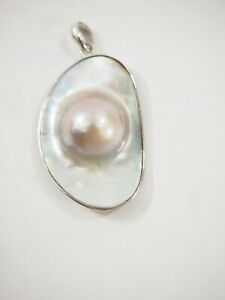 Beautiful Tahitian Mabe Pearl AAA Quality set within Sterling Silver Pendant