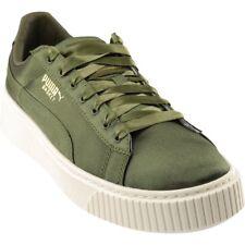 Puma Basket Platform Satin Sneakers- Green- Womens