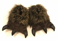 Grizzly Bear Paws Furry Slippers  size L / XL US 4/5 Eu 36/37 brown black claws