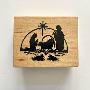 PSX Designs NATIVITY Rubber Stamp D-209 Holy Family Christmas Baby Jesus Wood Mt