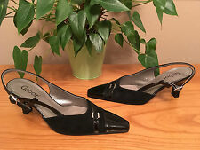 Ladies Gabor black patent leather sling back pointed court shoes UK 5 EU 38