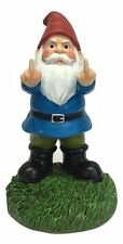 """New - Double Bird Gnome by Gnometastic Middle Finger Dwarf Statue Sculpture 8.3"""""""