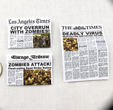 ZOMBIE APOCALYPSE NEWSPAPER Dollhouse 1:12 Scale Miniature Zombie Attack Dead