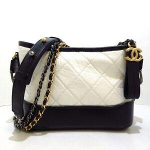 Auth CHANEL Gabrielle de Chanel Small Hobo White Aged Calfskin Shoulder Bag