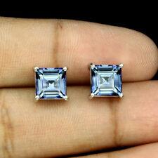 Sterling Silver 925 Square Cut Genuine Natural Tanzanite Colour Quartz Earrings