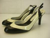 Taryn Rose Women's 10 M Marcy Black Ivory Slingback Shoes Pumps High Heels Dress