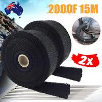 2x Heat Wrap Resistant 2000F Exhaust Wrap Black 15M*50mm+10 Stainless Steel Ties