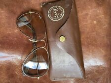 Vintage Ray-Ban Aviator B & L Usa Leather Trimmed Sunglasses with Case