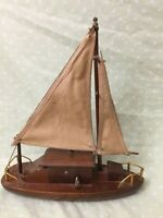 "George Good Wooden Ship Sailboat 11""X10"" Music Box Plays Beyond The Sea VTG 70s"