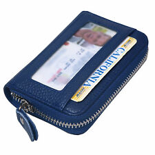 Blue Leather Wallets Zip Round Mini Credit Card Case Purse Business Card Case