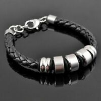 Men's Jewelry Leather Braided Titanium Stainless Steel Bracelet SLIVER RODS