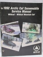 Vintage 1992 Arctic Cat Snowmobile Service Manual Wildcat Wildcat Mountain Cat