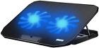 Laptop Cooler Cooling Pad Stand Adjustable USB 2 Fans Blue LED Game PC Notebook
