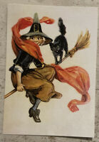 Postcard ~ 14x10cm Vintage Halloween reprint Witch On Bedroom With Black Cat