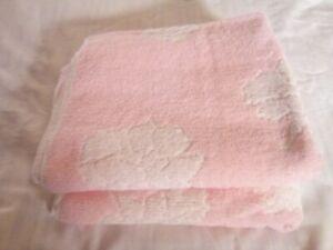 2 Vintage  Pink & White Flower Gold Label Cannon Cotton Bath Towels