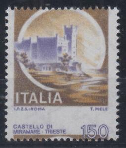 REPUBBLICA 1980-92 CASTELLI MIRAMARE 150 LIRE VARIETA' N.1130Ea G.I MNH**