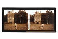 Piccolo Château Francia Foto Stereo Placca Da Lente Vintage c1930