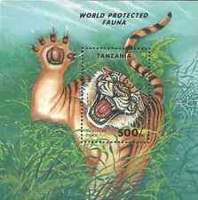 Timbre Animaux Félins Tigres Tanzanie BF247 ** lot 27147