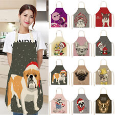Waterproof Funny Cartoon Dog Cotton Linen Apron Kitchen Restaurant  Aprons