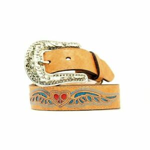 SALE! M & F Western Girls Tan Heart Wing Belt N4423008