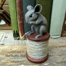 Vintage Style Mouse on a Cotton Reel Ornament