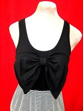 Black & White Striped Giant large Bow fronted stretch Mini Dress Long Top S/M