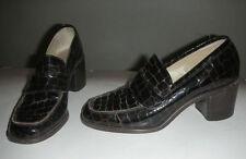 """NINE WEST """"Crantley2"""" Size 5.5 M Stack Heel Slip on Loafer Pumps Brown Texture"""