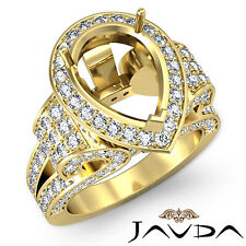 Diamond Engagement Huge Ring Vintage Style Pear Semi Mount 18k Yellow Gold 2.4Ct