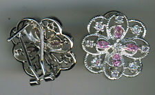 925 Sterling Silver Pink & Clear Cubic Zirconia Large Stud Earrings 20mm Diam