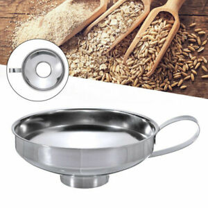 Stainless Steel Funnel Fill Jam Jar Wide Neck Mouth Filter Tool Kitchen