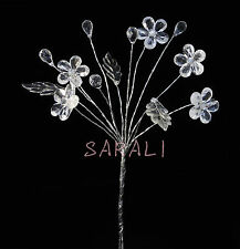 CLEAR ACRYLIC DIAMOND CRYSTAL FLOWERS BRIDAL BOUQUET CENTERPIECES JEWELRY PICKS