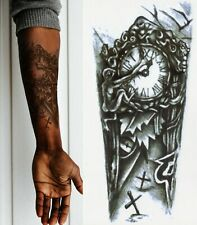 2x Temporary Tattoo Black Gothic Clock Fake Body Art Sticker Waterproof Men Lady