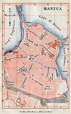 Pianta di Mantova.Carta Topografica,Geografica.Stampa Antica + Passepartout.1891