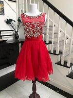 Beaded Red Short Prom Dress Homecoming Cocktail Party Dress Size 2-10