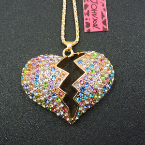 New Multi-Color Crystal Love Heart Pendant Betsey Johnson Chain Necklace