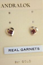 Girls Womens 9ct Gold Andralok Heart Small Round Garnet Studs Earrings BDay GIFT