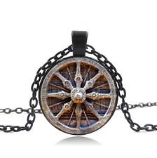 Dharma Wheel Chakra Black Glass Cabochon Necklace chain Pendant Wholesale
