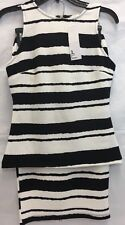 NWT Women's Designer Black White Skirt Top Set Professional Work Outfit Size XS